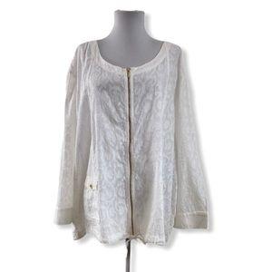 Coral Bay NWT 3X Full Zip Jacket Blouse 3/4 Sleeve